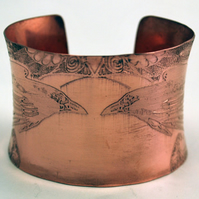 Etched Natural Copper Cuff Bracelet - Raven design - large anticlastic cuff