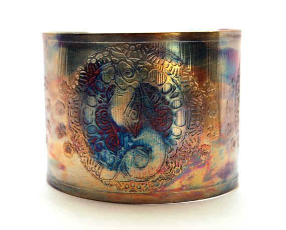 Etched Copper Cuff Bracelet - Moongazing hare design - large cuff