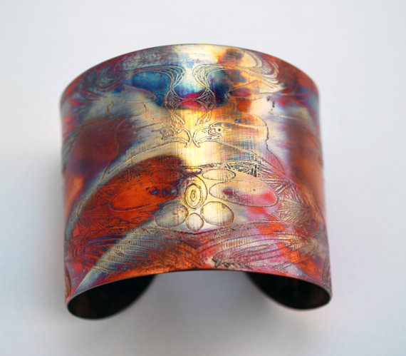 Etched Copper Cuff Bracelet - Eagle design - large