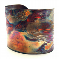 Etched Copper Cuff Bracelet - Raven design - large