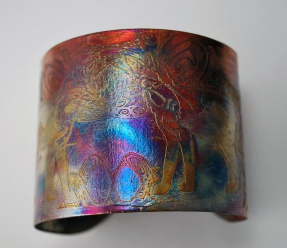 Etched Copper Cuff Bracelet - fox design - large