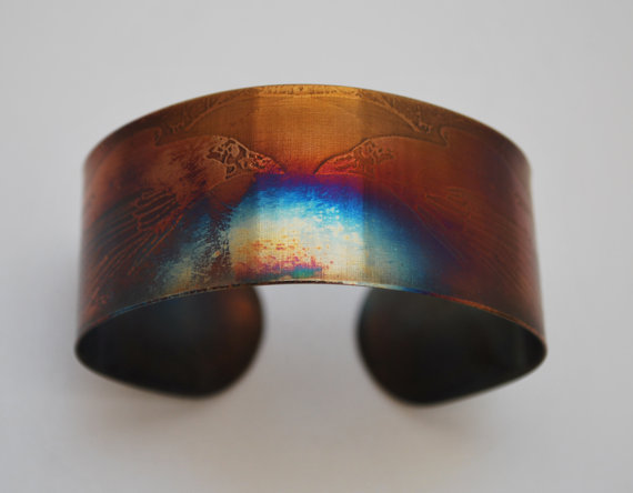 Coloured steel Ravens cuff, Multi coloured stainless steel crow bangle