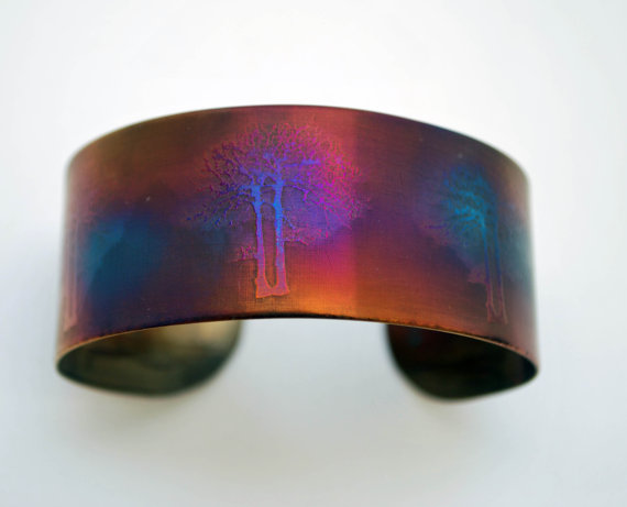 Coloured steel trees cuff, Multi coloured stainless steel plant bangle
