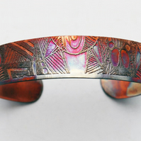 Etched Copper Cuff Bracelet - pattern design - slim size