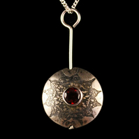 Garnet set Etched sterling silver pendant small