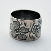 Sterling Silver Flower Ring, Adjustable Etched Ring, oxidised or natural finish