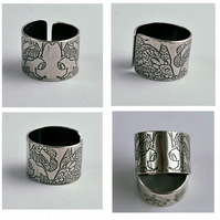 Adjustable Etched Sterling Silver Owl Ring