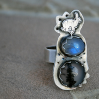 Sterling Silver Hare Ring, Rabbit Ring with moonstone and Dendritic Agate