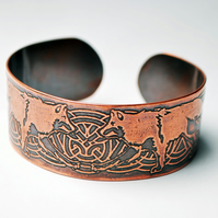 Copper Celtic Wolf cuff bracelet
