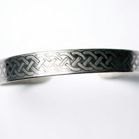 Steel celtic knot cuff band bracelet