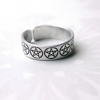Pentacle Ring, adjustable aluminium Magic ring, Pentagram Ring, Pagan, Halloween
