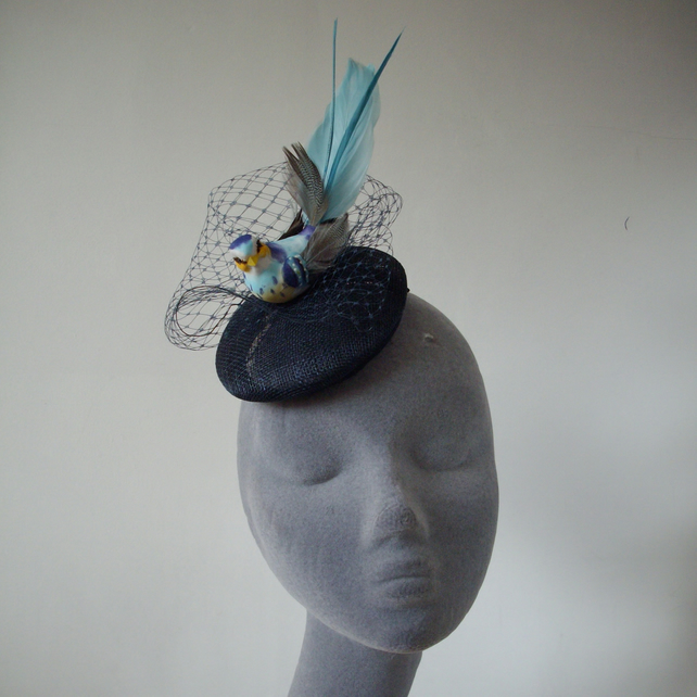 Navy-Blue Bird Fascinator with Veiling in Large... - Folksy 3f9680a6e44
