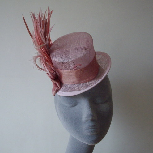 Pale Pink Silk and Spike Feather Mini Top Hat