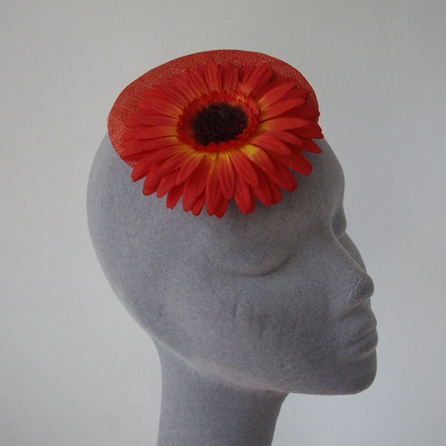 REDUCED- Cherry Red Gerbera Flower Large Fascinator