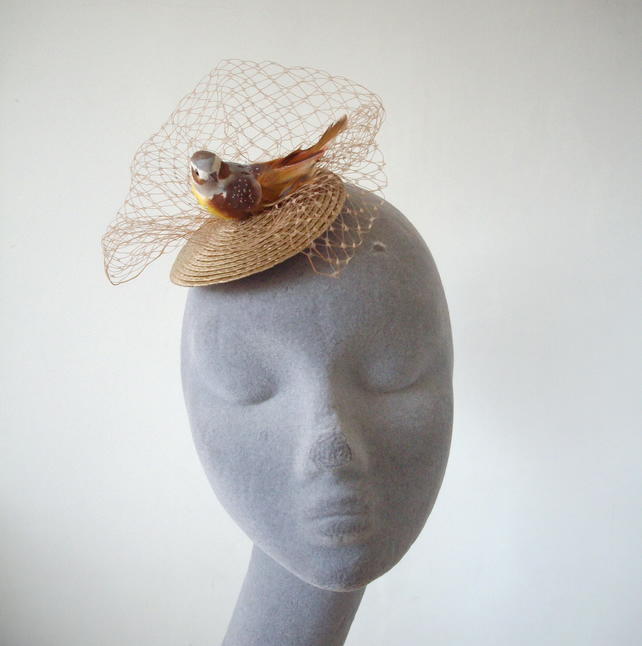 Gold Bird Fascinator with Veiling in Small