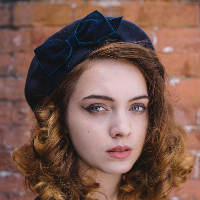 Navy Beret with Navy Velvet Ribbon Bow