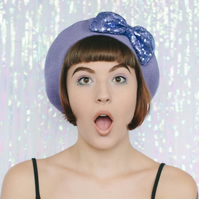 Lilac Beret with Lilac Sequin Bow