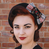 Black Beret with Black White and Red Tartan Bow