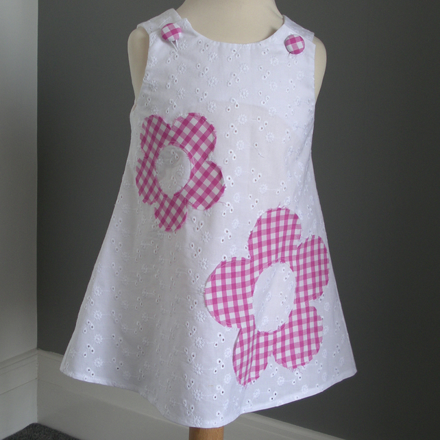 Embroidery anglaise pink gingham dress folksy