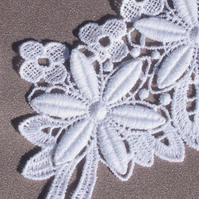 Pair of Embroidered Lace 'Clematis' Flower Motif
