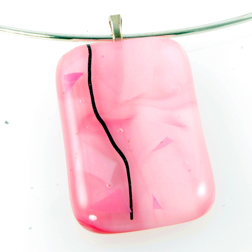 fused glass pendant - pretty in pink