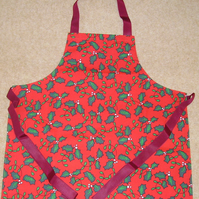 Child's Red and Green Holly Cotton Apron
