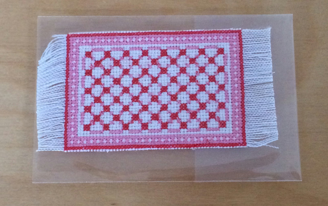 1:12 scale Miniature Red Mat for the dolls house. Cross Stitch Rug.