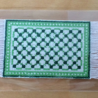 Green cross stitch mat, dolls house rug, miniature carpet