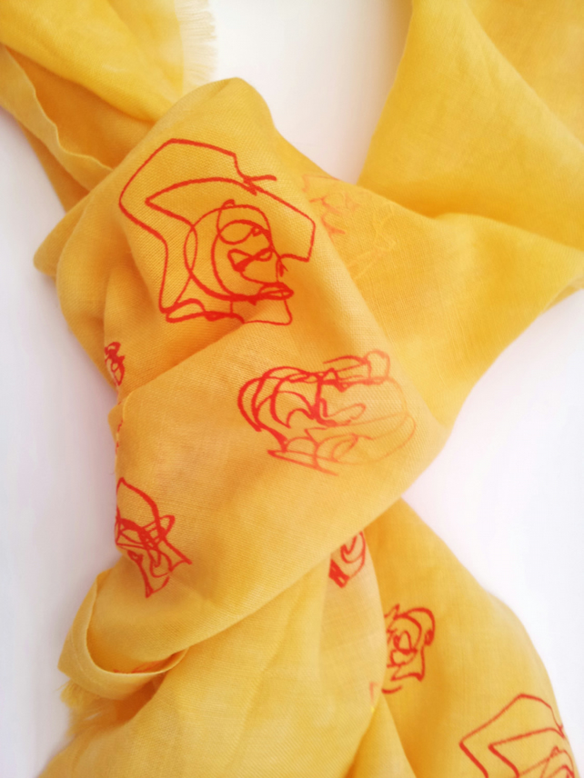 Bright Orange Roses Wool Scarf