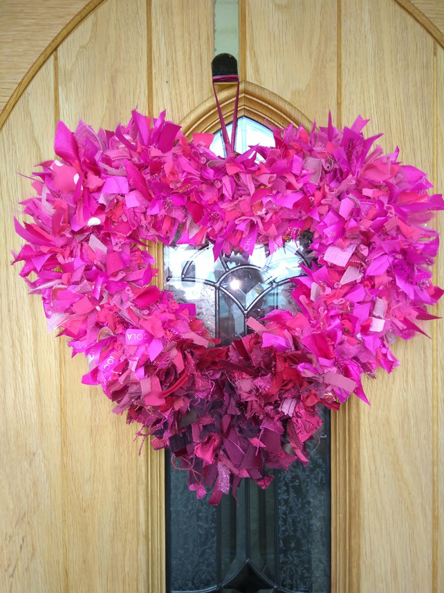 Cerise Pink Ombre Valentines Heart Rag Wreath Upcycled Eco Decoration