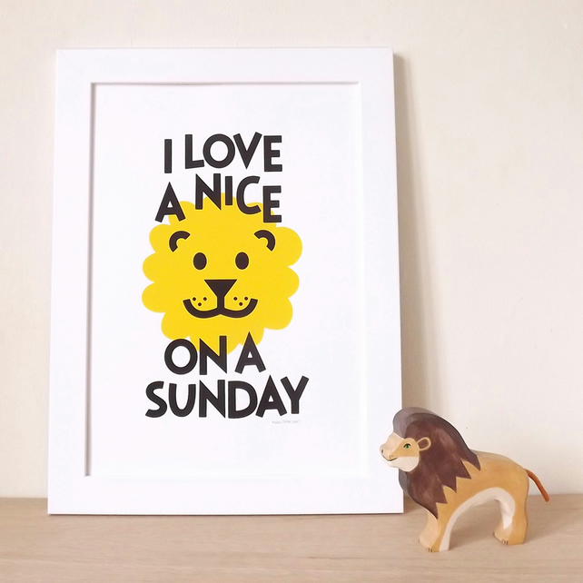 Nice Lion Screen print - Fun handprinted poster for the bedroom