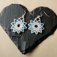 Blue and White Sunburst Earrings