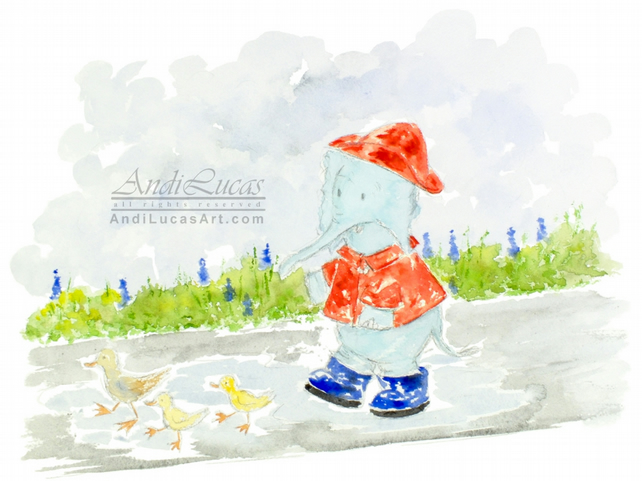 Watercolor Elephant Walking in Puddles Giclee Nursery Children's Print