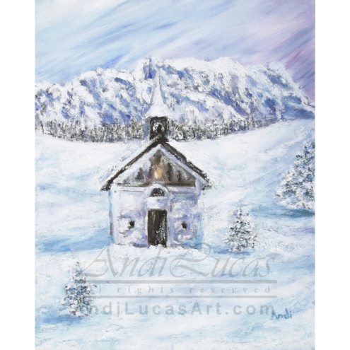 "Signed Giclee Fine Art Print Alpine Church Landscape 8"" x 10"""