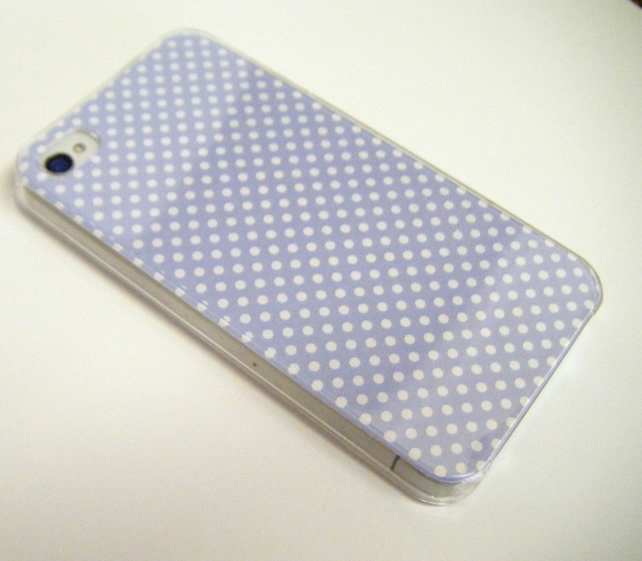 iPhone 4 and 4s Case Cover Skin Handcrafted Using Designer Lilac Spot Print