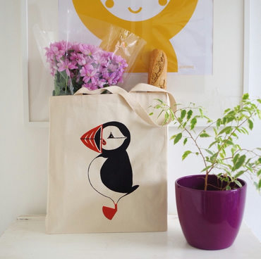Mr Puffin Tote Bag - Screen printed, Canvas, Long handled