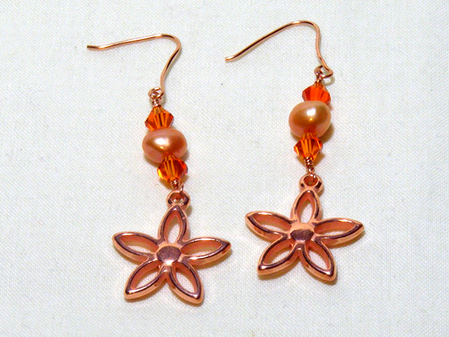 Orange and Copper Earrings