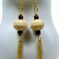 Beige and Brown Chain Earrings