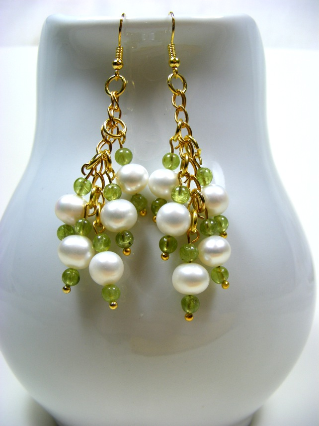 Peridot and Freshwater Pearl Earrings