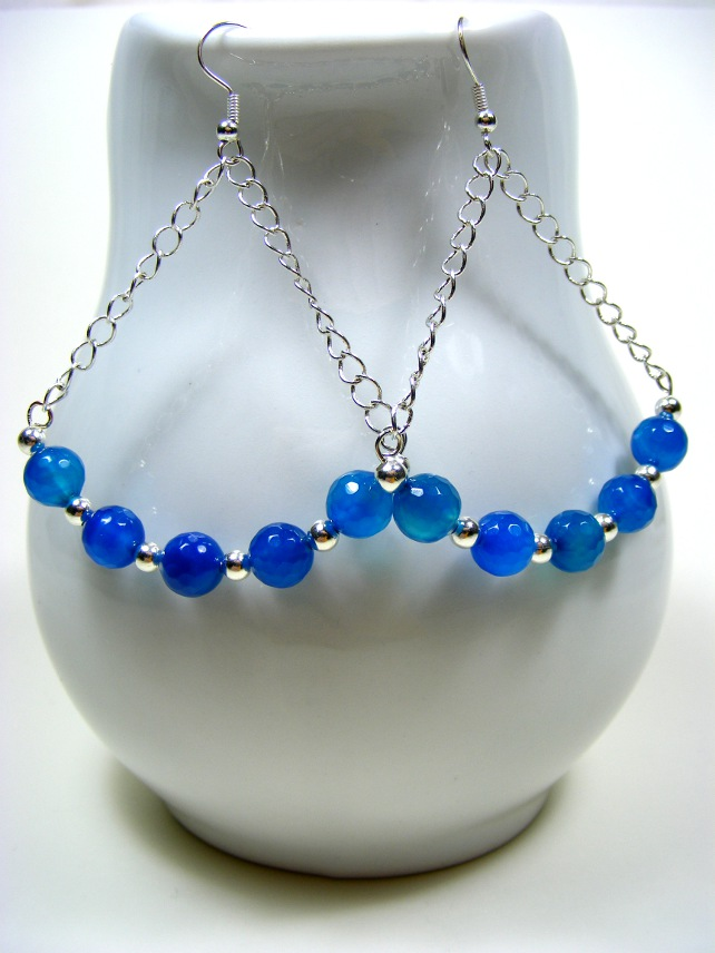 Blue Agate and Chain Earrings
