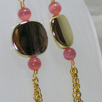 Pink Cats Eye Dangling Earrings