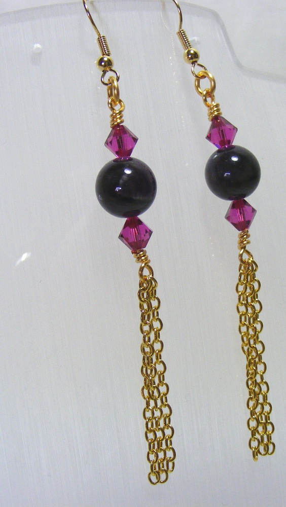 Crystal and Amethyst Earrings
