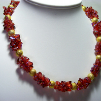 Red Glass and Gold Stardust Necklace