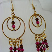 Fuchsia and Smoked Topaz Crystal Earrings