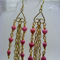 Pink Hearts with Gold Chain Dangle Earrings
