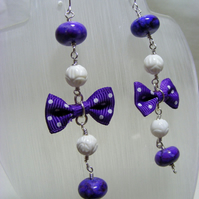 Purple and White Bow Rosary Earrings