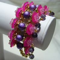 Pink and Purple Flower Bracelet