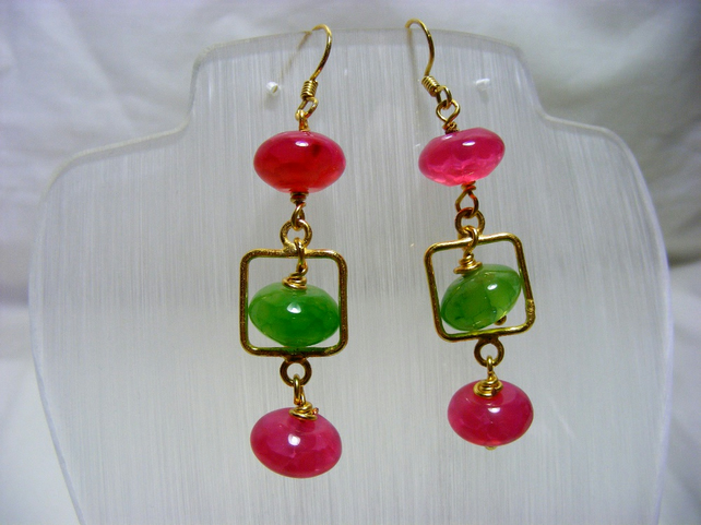 Pink and Green Gemstone Earrings
