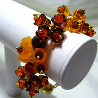Orange and Brown Flower Bracelet