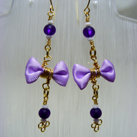 Purple Rosary Bow Earrings